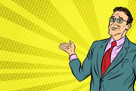 businessman in VR glasses presents. Pop art retro vector illustration vintage kitsch