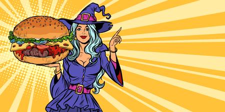 Halloween witch presents holiday burger. Pop art retro vector illustration vintage kitsch Stock Photo