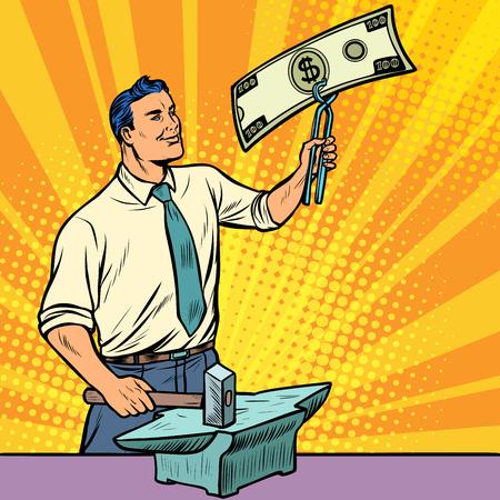 Businessman blacksmith forges dollars money on the anvil. Pop art retro illustration vintage kitsch drawing