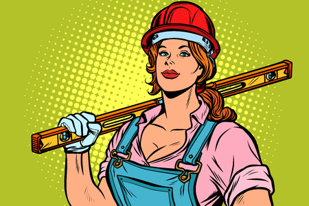 Pop art woman Builder with level, retro vector illustration vintage kitsch Stock Photo