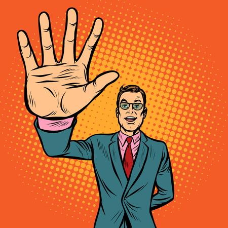 man high-five gesture. Pop art retro vector illustration vintage kitsch