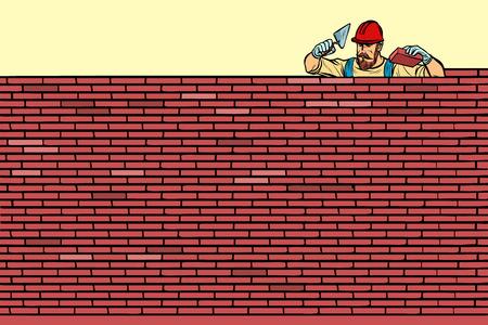 The Builder lays brick masonry at the top. Pop art retro vector illustration vintage kitsch Illustration