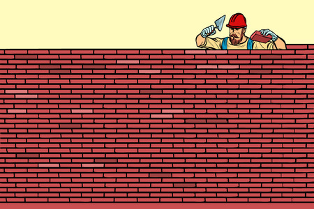 The Builder lays brick masonry at the top. Pop art retro vector illustration vintage kitsch Vector Illustration