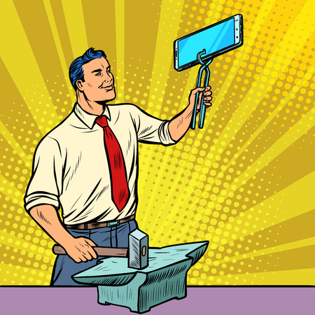 Businessman blacksmith forges smartphone on anvil. Gadgets and technologies. Pop art retro illustration vintage kitsch drawing Stock Photo