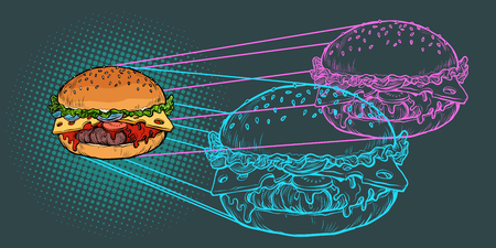 Burger ingredients, fast food restaurant. Pop art retro vector illustration vintage kitsch