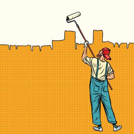 Maler malt die Wand oben. Vintage-Kitsch der Retro-Vektorillustration der Pop-Art