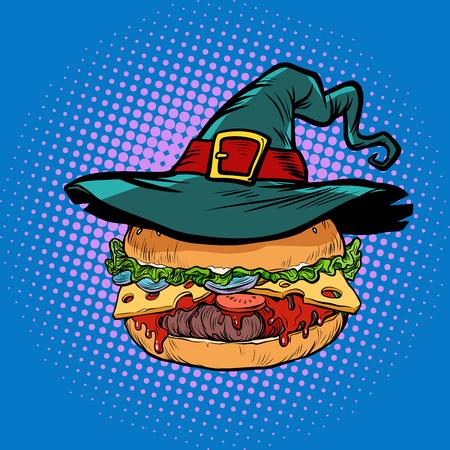 Halloween Burger, fast food holiday. Pop art retro vector illustration vintage kitsch