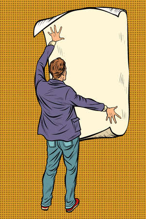 man unfolded poster paper, announcement on the wall. Pop art retro vector illustration vintage kitsch Stock Photo