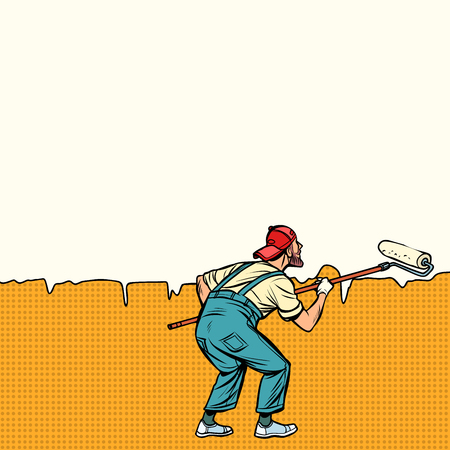 worker painter paints wall in the middle. Pop art retro vector illustration vintage kitsch Stok Fotoğraf