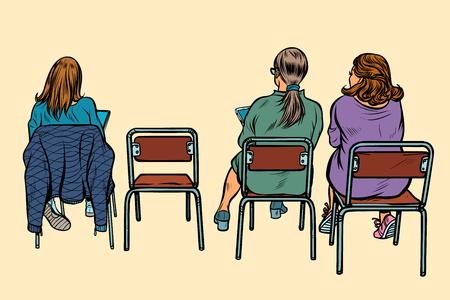 women sit back on chairs. Pop art retro vector illustration vintage kitsch