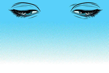 women eyes look down. Pop art retro vector illustration vintage kitsch