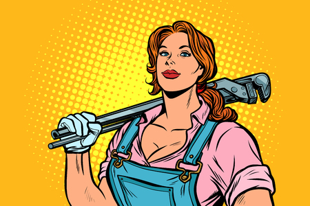 A strong woman mechanic plumber worker with adjustable wrench. Pop art retro vector illustration vintage kitsch