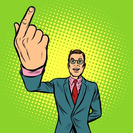 man index finger up. Pop art retro vector illustration vintage kitsch Stock Photo