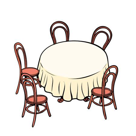 Round dining table and chairs around. Pop art retro vector illustration vintage kitsch Archivio Fotografico - 108436913