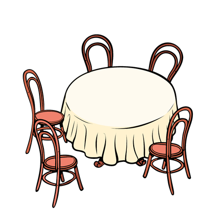 Round dining table and chairs around. Pop art retro vector illustration vintage kitsch