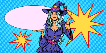 Beautiful woman in Halloween witch costume. holiday background. Pop art retro vector illustration vintage kitsch