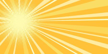 yellow sun pop art background. Pop art retro vector illustration vintage kitsch