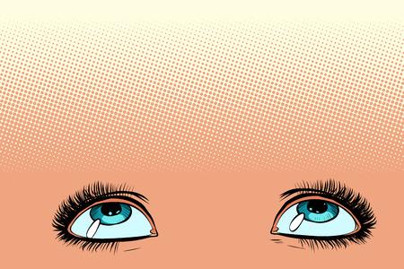 women eyes look up. Pop art retro vector illustration vintage kitsch