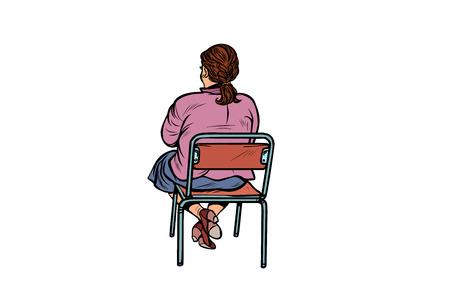 Woman back sitting on a chair. Pop art retro vector illustration vintage kitsch Stock Photo