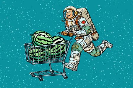 Astronaut buys watermelons. shopping cart trolley sale. Pop art retro vector illustration vintage kitsch