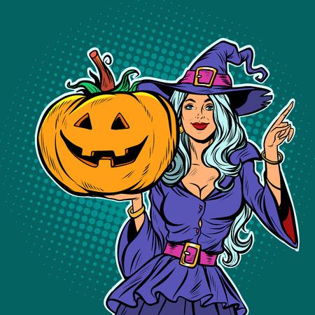 witch with Halloween pumpkin. Pop art retro vector illustration vintage kitsch