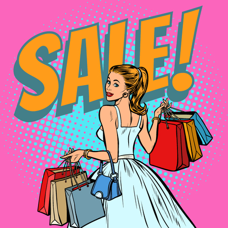 bride shopping, woman with bags. Pop art retro vector illustration vintage kitsch