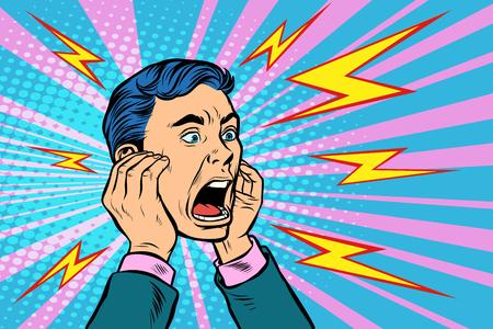 head of a man screaming. Pop art retro vector illustration kitsch vintage