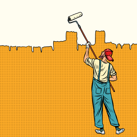 painter paints the wall at the top. Pop art retro vector illustration vintage kitsch Stock Photo