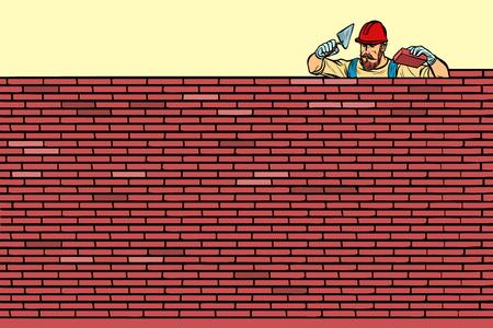 The Builder lays brick masonry at the top. Pop art retro vector illustration vintage kitsch Stock Photo
