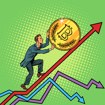 businessman roll a bitcoin coin up. Pop art retro vector illustration vintage kitsch Illustration