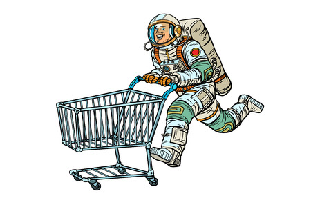 Astronaut in the store with a shopping cart. Isolate on white background. Pop art retro vector illustration vintage kitsch