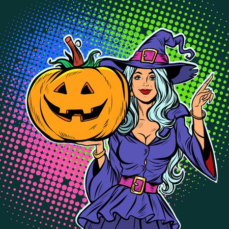heks met pompoen. Halloween feest. Popart retro vector illustratie vintage kitsch