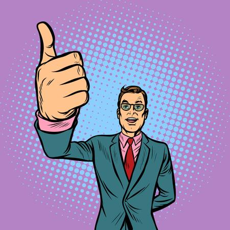man thumb up, like. Pop art retro vector illustration vintage kitsch Illustration
