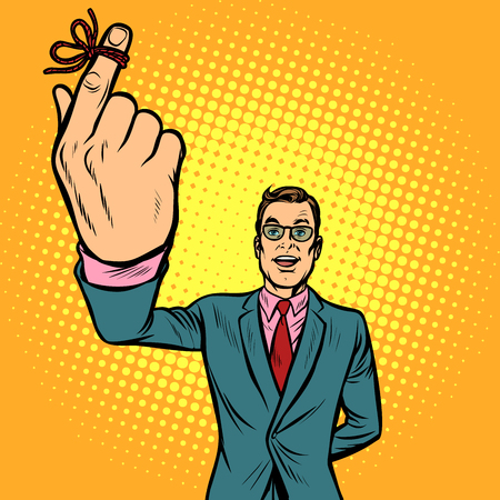 man thumbs up, a string lace up, memory. Pop art retro vector illustration vintage kitsch