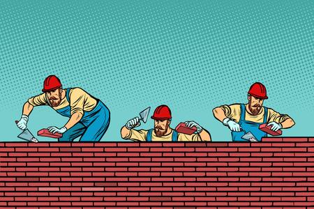 Bauteam, das einen Backsteinmauerhintergrund legt. Vintage-Kitsch der Retro-Vektorillustration der Pop-Art Vektorgrafik