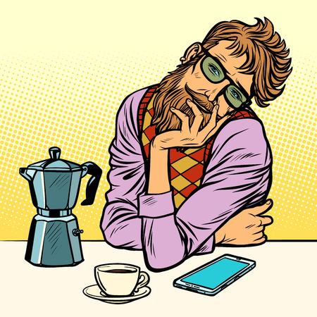 hipster man morning coffee. Pop art retro vector illustration vintage kitsch