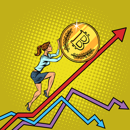 woman businesswoman roll a bitcoin coin up. Pop art retro vector illustration vintage kitsch