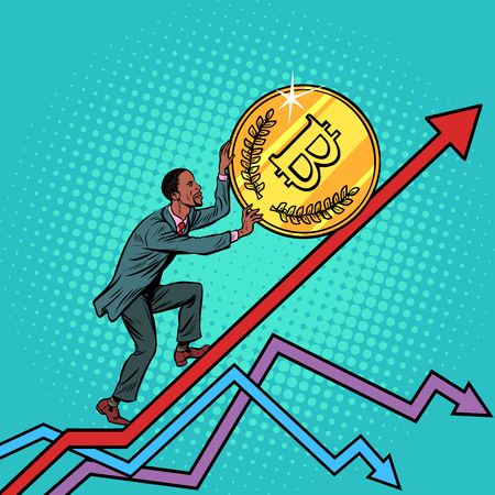 African American man roll a bitcoin coin up. Pop art retro vector illustration vintage kitsch