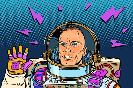 astronaut Hello gesture. Pop art retro vector illustration vintage kitsch