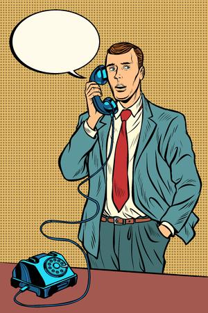 człowiek rozmawia przez telefon retro. Pop-art retro wektor ilustracja vintage kicz