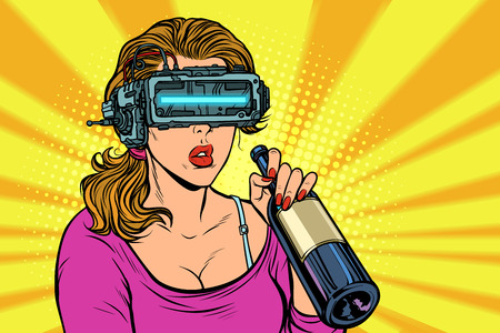 VR glasses. Woman drinking wine from a bottle. Loneliness and sadness. Pop art retro vector illustration vintage kitsch Çizim