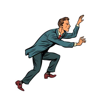 Businessman climbs up. Pop art retro vector illustration vintage kitsch