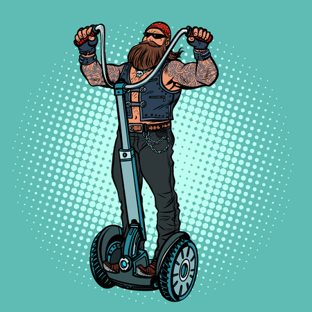 Biker on electric scooter, rider