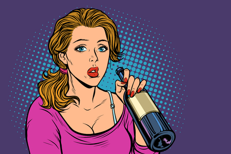 Woman drinking wine from a bottle. Loneliness and sadness. Pop art retro vector illustration vintage kitsch