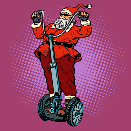 Santa Claus biker with Christmas gifts rides an electric scooter