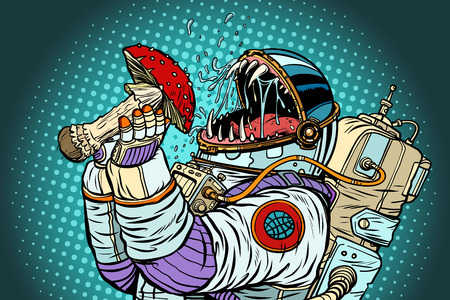 Astronaut monster eats Fly agaric. Greed and hunger of mankind c Illustration