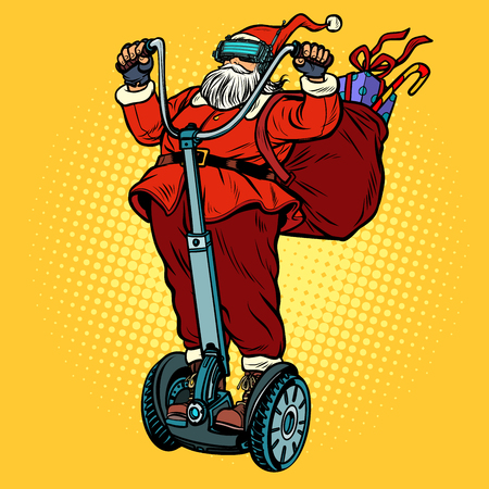 Santa Claus in VR glasses, with Christmas gifts rides an electri