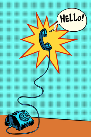 retro phone Hello. Pop art vector illustration vintage kitsch Illustration