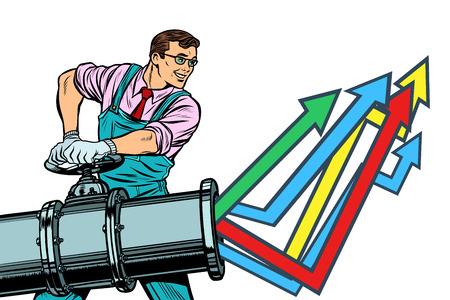 Geschäftsmann öffnet Rohr, Wachstumsdiagramm nach oben. Werk und Industrie. Auf weißem Hintergrund isolieren. Pop-Art Retro-Vektor-Illustration Vintage-Kitsch Vektorgrafik