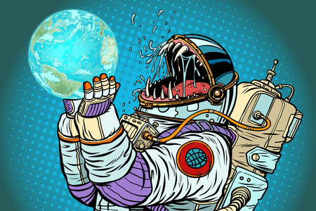 Astronaut monster earth planet. Greed and hunger of mankind conc